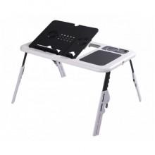 Столик для ноутбука E-Table LD09 универсальный с функцией охлаждения Черно-Белый