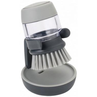 Щетка для мытья посуды с дозатором Серая