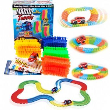 Детский гоночный трек Magic Tracks 220 деталей с LED подсветкой