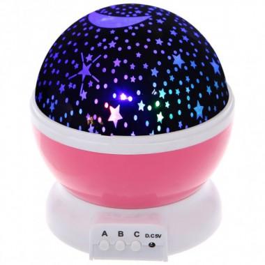Ночник проектор звездного неба Star Master вращающийся Розовый